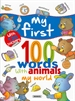 Portada del libro My world... with 120 stickers, my first 100 words with animals