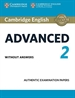 Portada del libro Cambridge English Advanced 2 Student's Book without answers