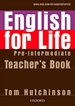 Portada del libro English for Life Pre-Intermediate. Teacher's Book