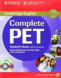 Books Frontpage Complete PET for Spanish Speakers Student's Book without answers with CD-ROM